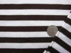 ニットボーダー ブラウン/白 白部分の幅 10mm  ブラウン部分の幅 10mm