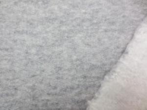 裏毛トレーナー地  杢グレイの裏起毛 ふんわりした風合いでよく伸びます。