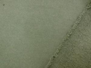 裏毛トレーナー地  カーキグリーン(オリーブ)の裏起毛 柔らかい風合いですが、 あまり伸びません。