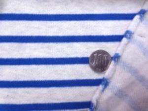 裏毛トレーナー地  ボーダーの裏起毛 青部分の幅 5mm 杢生成り部分の幅 15mm 裏起毛で柔らかい風合いですが、 ほとんど伸びません。