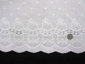 レース 生地 スカラップレース 白 108cm巾 [LA411]