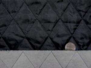 ポリエステルタフタのキルティング 黒 綿をはさんで極薄い不織布を裏につけて キルティングしています。 綿の厚さ 厚め