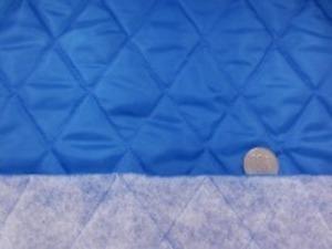 ポリエステルタフタのキルティング  ターコイズ ポリエステルの綿を裏につけて キルティングしています。 綿の厚さ 普通