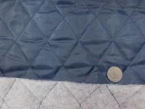 ポリエステルタフタのキルティング  濃紺(少し鉄紺っぽい薄めの色の紺) ポリエステルの綿を裏につけて キルティングしています。 綿の厚さ 普通