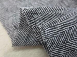 リネン 生地 ヘリンボーン 黒/白 洗い加工 140cm幅 [AS1120]