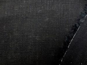リネン 生地 ざっくりリネン 黒 136cm幅