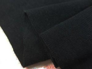 ニット 生地 リブニット  黒 100cm幅 [JJ1491]
