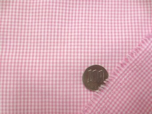 ギンガムチェック 生地 TCギンガム 1.5mmピンク/1.5mm白