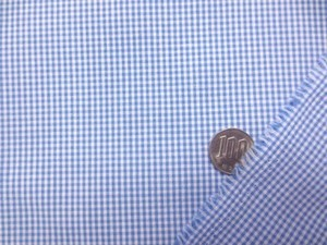 ギンガムチェック 生地 TCギンガム 1.5mmブルー/1.5mm白