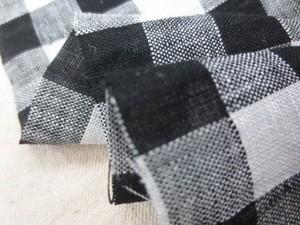 リネン 生地 リネンギンガム 1.4cmチェック オフ白/黒 145cm幅 [AS1141]