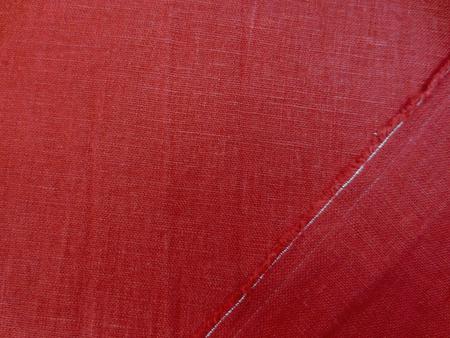 リネン 生地 ヨーロッパリネン 洗い加工  少し濃いめのきれいな赤 [AS1027]