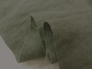 リネン 生地 ヨーロッパリネン 洗い加工 モスグリーン  [AS1032]