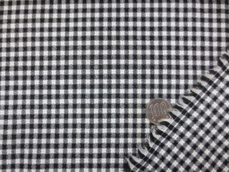 チェック 生地 パナマドビー ギンガムチェック 黒/白 110cm幅 [GC430]