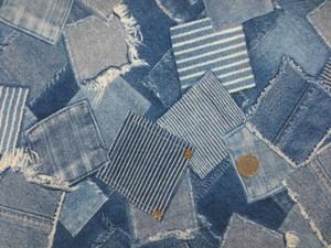 コットン 生地 サッカー リップル デニムパッチワーク柄 ブリーチブルー地 110cm幅 [PT4626]
