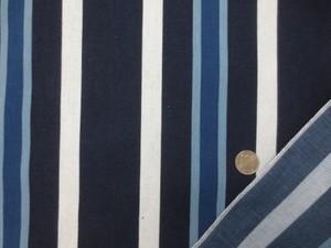 ストライプ 生地 インディゴ デニム ランダムストライプ 濃紺 ブルー 白 91cm幅 [SR750]