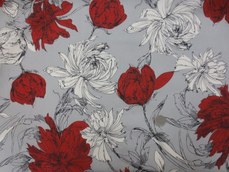 コットン 生地 ローン プリント オフ白 ダークレッドの大きな花/グレイ地 [PT4650]