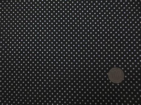 ドット 生地 コットン 60ローン 2mm ドットプリント 白ドット/黒地 138cm幅 [PT4655]