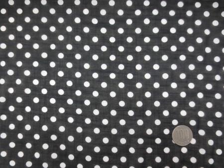 ドット 生地 コットン スラブローン 6mmドットプリント 白ドット/黒地  105cm幅 [PT4657]