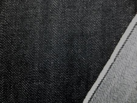 デニム 生地 13オンス デニム ムラ糸 黒 150cm幅 [DE2116]