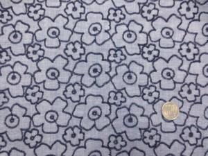 レース 生地 ダンガリー 花柄 刺繍 濃紺 [LA433]