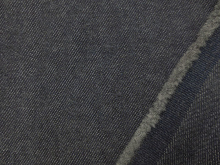 デニム 生地 ウール混デニム 濃紺 洗い加工 147m幅 [DE2288]