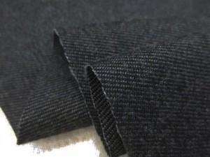 デニム 生地 ウール混デニム 黒 洗い加工 147m幅 [DE2289]