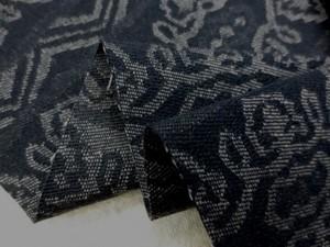 デニム 生地 11オンス ジャガードデニム 濃紺 幾何柄 125cm幅 [DE2123]