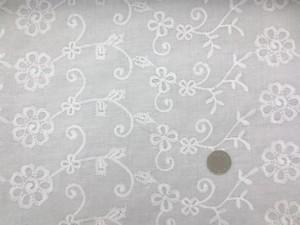レース 生地 ローンレース エンブロイダリーレース 白 2 100cm巾 [LA450]