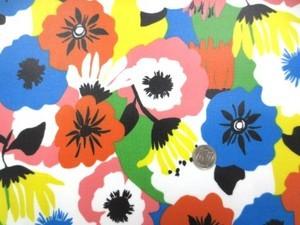 ラミネート 生地 FLOWERS カラフル ビニールコーティング 110cm幅 [BN505]