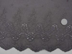 レース 生地 スカラップレース 濃ブラウン 108cm巾 [LA437]