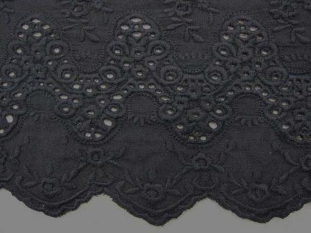 レース 生地 スカラップレース 黒 108cm巾 [LA439]