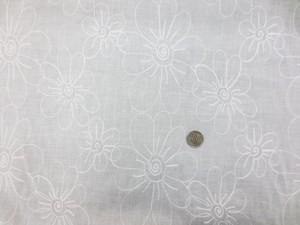 レース 生地 刺繍レース フラワー オフ白地 112cm巾 [LA488]