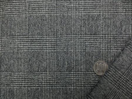 ウール 生地 ウールグレンチェック 黒/オフ白 150cm幅 [WO1247]
