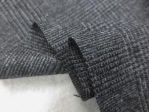 ウール 生地 ウールグレンチェック 濃グレイ 150cm幅 [WO1248]