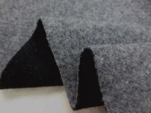 ウール 生地 モッサ リバーシブル 杢グレイ/黒 155cm幅 [WO1126]