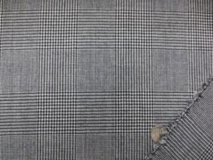 ウール 生地 グレンチェック 黒/オフ白 150cm幅 [WO1128]