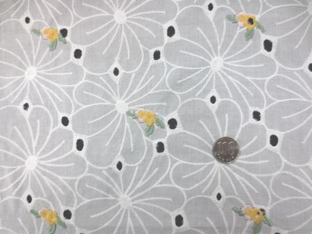 レース 生地 ローンレース エンブロイダリーレース オフ白 黄小花刺繍 143cm巾 [LA458]