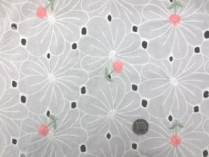 レース 生地 ローンレース エンブロイダリーレース オフ白 ピンク小花刺繍 143cm巾 [LA459]
