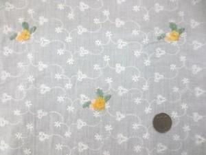 レース 生地 ローンレース エンブロイダリーレース オフ白 黄色ピンク小花刺繍 143cm巾 [LA461]