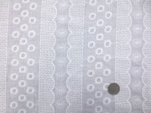 レース 生地 ダブルガーゼレース エンブロイダリーレース 白 7 150cm巾 [LA474]