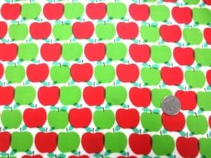 ラミネート 生地 LITTLE APPLE ローングリーン 赤/オフ白地 ビニルコーティング 110cm幅 [BN522]