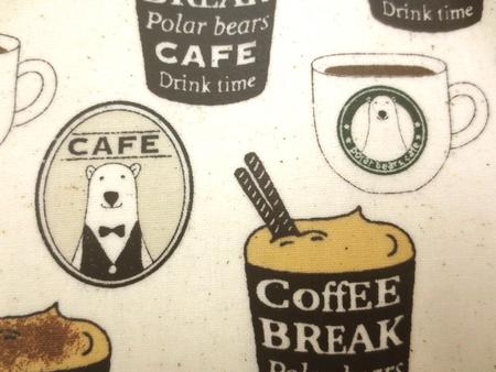 ラミネート 生地 CAFE BEAR 綿麻 生成地 コットンこばやし ビニルコーティング 110cm幅 [BN529]