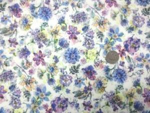 ラミネート 生地 パープル系小花柄/白地 ビニールコーティング 110cm幅 [BN525]