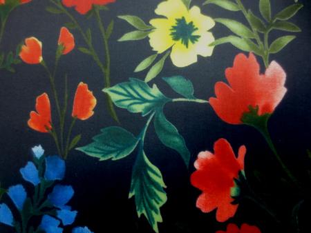 ラミネート 生地 濃紺 赤 黄 ブルー花柄/濃紺地 ビニールコーティング 113cm幅 [BN527]