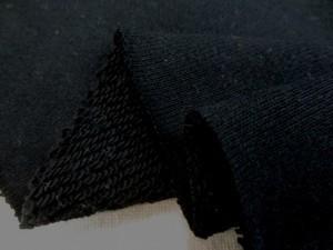 ニット 生地 裏毛 トレーナー地 黒 180cm幅 [JJ1423]