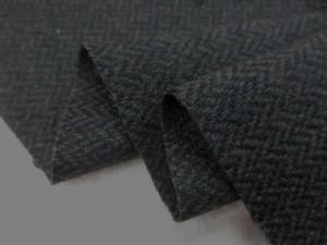 ウール 生地 ウール ヘリンボーン ミックスブラック 146cm幅 [WO1179]