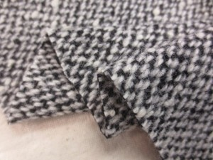 ウール 生地 ウール ツイード ブラック&ホワイト 157cm幅 [WO1184]