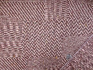 ウール 生地 ウール パッチワーク ヘリンボーン エンジ 147cm幅 [WO1191]