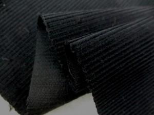 コール天 生地 コーデュロイ 中畝コール 黒 イタリー製 154cm幅 [KO849]