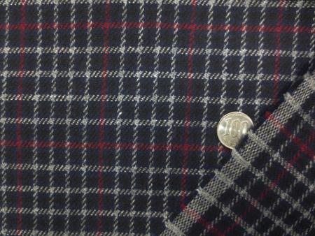 ウール 生地 綾織チェック グレイ ダークレッドライン/濃紺地 イタリー製 142cm幅 [WO1251]